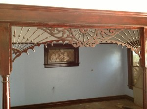 Salvaged Spindle Work Arch, Living Room, View to North